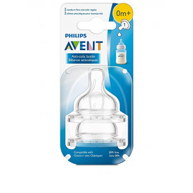 Philips AVENT Anti-Colic Nipple, Clear, Newborn (Pack of 2)