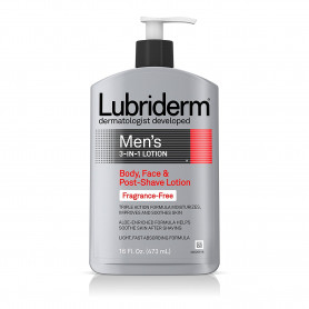 Lubriderm Men's 3-In-1 Lotion, Body, Face And Post-Shave Lotion, Fragrance Free 473ml