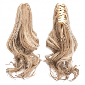 SWACC Short Cute Curly Claw Clip Ponytail Extension Synthetic Clip in Ponytail Hairpiece Jaw Clip Hair Extension (Dark Honey Blonde/Bleach Blonde Highlights-16H613#)