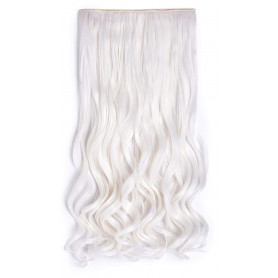 """OneDor 20"""" Curly 3/4 Full Head Synthetic Hair Extensions Clip on/in Hairpieces 5 Clips 140g (1001#-White)"""