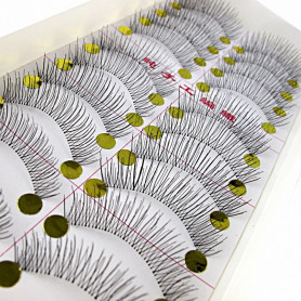 MapofBeauty 10 Pairs Natural Long Thin Makeup False Eyelashes (Black-#01)