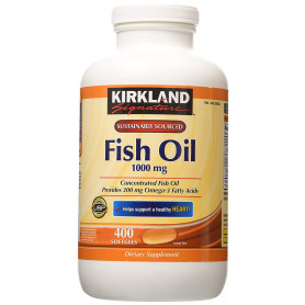 Kirkland Signature Natural Fish Oil Concentrate with Omega-3 Fatty Acids, 400 Softgels