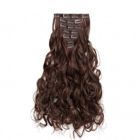 "OneDor 20"" Curly Full Head Clip in Synthetic Hair Extensions 7pcs 140g (8#-Medium Ash Brown)"