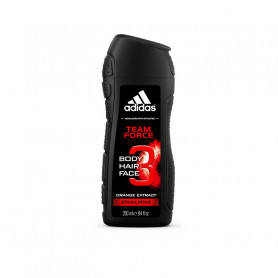 Adidas Team Force 3in1 Body, Hair and Face Shower Gel for Him, 250ml