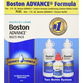 Baush & Lomb Boston Advance Comfort Formula for Rigid Gas Permeable Contact Lenses - Two 4 oz Bottles Plus 1 oz Cleaner