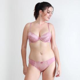 Makclan Tempting Plunge Lace Blush Pink Lingerie Set