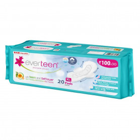 everteen XL Sanitary Napkin Pads with Neem and Safflower, Cottony-Dry Top Layer for Women – 1 Pack (20 Pads, 280mm)