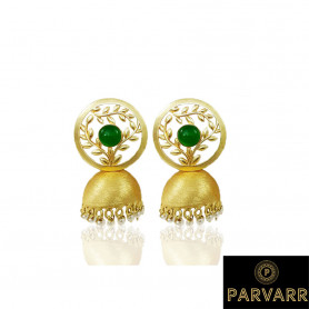 Parvarr Gold Plated Traditional Green Pearl Jhumki Earrings