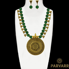 Parvarr Gold Plated Green Pearl Jewellery Necklace Set For Women/Girls