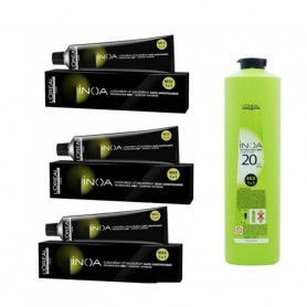 L'Oreal Professionnel Inoa Hair Colour Tubes-3 Tubes*No 2 (Darkest Brown) + 1 Pc Of Inoa Developer 20 Vol (6%) 1000 ml