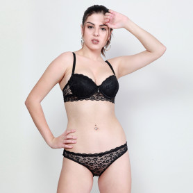 Makclan Charmer Cinderella Licorice Black Lace Lingerie Set