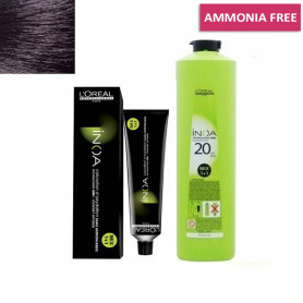 L'Oreal Professionnel Inoa Hair Colour No-1 Black 60g and 1 Inoa Developer 20 Vol (6%) 1000 Ml