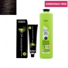L'Oreal Professionnel Inoa Hair Tubes*No 3 (Dark Brown) 60g and 1 Inoa Developer 20 Vol (6%) 1000 Ml