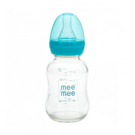Mee Mee 120ml Premium Glass Feeding Bottle (Blue)