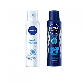 Nivea Fresh Natural and Nivea Men Fresh Active Original Deodorant, 150ml each, Combo of 2