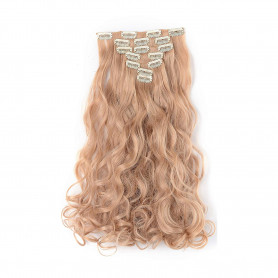 "OneDor 20"" Curly Full Head Clip in Synthetic Hair Extensions 7pcs 140g (25#-light Golden Blonde)"