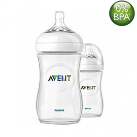 Philips Avent 260ml Natural Feeding Bottle (Clear, Twin Pack)