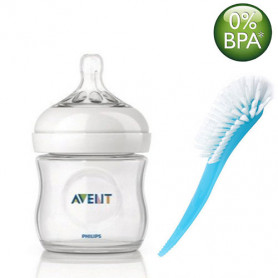 Philips Avent Natural Bottle 125ML and Brush (White, Blue)