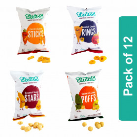 Timios Snacks Mix Flavours (Sticks, Rings, Stars and Puffs) - Pack of 12