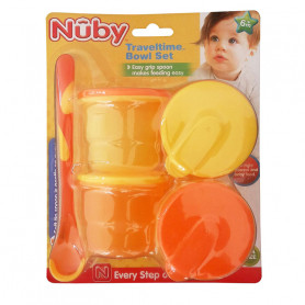 Nuby Travel Time Bowl Set-Orange