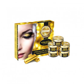 Vaadi Herbals Gold Facial Kit 24 Carat Gold Leaves, Marigold & Wheatgerm Oil, Lemon Peel Extract (70 g)