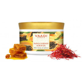 Vaadi Herbals Papaya Fairness Scrub Gel, Honey and Saffron, 500g