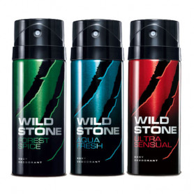 Wild Stone Forest Spice, Aqua Fresh, Ultra Sensual (Pack of 3)