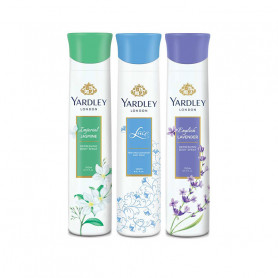 Yardley Jasmine, Lace, English Lavender (Pack of 3) Deo For Women