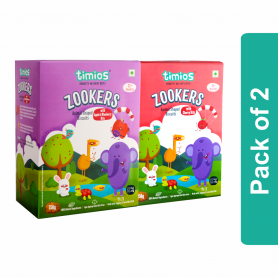 Timios Zookers Mix Flavours(Apple & Blueberry And Cherry Bits) - Pack of 2