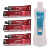 L'Oreal Professionnel Majirel Hair Cream No.6 Dark Blonde 50Ml, Tube-3 With Oxydant Crème 20 Vol 6% Developer -1000ml