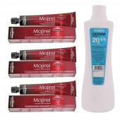 L'Oreal Professionnel Majirel No. 5.15 Light Brown Mahogany Ash Reflect 50ml-3 Tube With Oxydant Crème 20 Vol 6% Developer-495ml