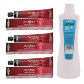 L'Oreal Professionnel Majirel Hair Color Cream No. 4 Brown, Tube-3 50Ml With Oxydant Crème 20 Vol 6% Developer -495ml