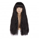 MapofBeauty Beautiful Women's Flat Bang Long Wave Curly Wig (Black)