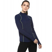 Silvertraq Women's Ath Runner Zip Neck Tee - Navy Blue