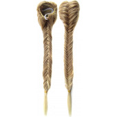 SWACC Long Fishtail Braid Ponytail Extension Synthetic Clip in Drawstring Ponytail Hairpiece (Blonde Mixed-M27/613)