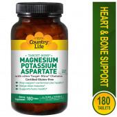 Country Life, Magnesium Potassium Aspartate, 180 Tablets