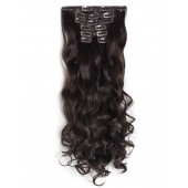 "OneDor® 20"" Curly Full Head Clip in Synthetic Hair Extensions 7pcs 140g (6-Medium Chestnut Brown)"