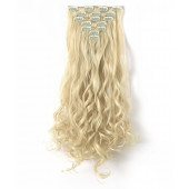 "OneDor 20"" Curly Full Head Clip in Synthetic Hair Extensions 7pcs 140g (613#-Pre Bleach Blonde)"