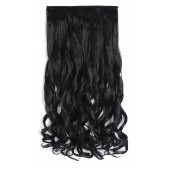 "OneDor 20"" Curly 3/4 Full Head Synthetic Hair Extensions Clip On/in Hairpieces 140g 5 Clips (1b- Off Black)"
