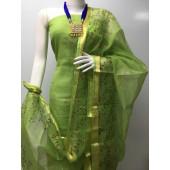 Kota Doria Printed Dress Material (Without Bottom)
