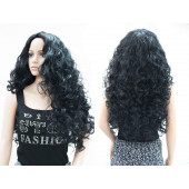 OneDor Fashion Long Hair Natural Curly Wavy Full Head Wigs Cosplay Costume Party Hairpiece (1#-Black)