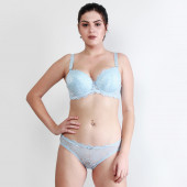 Makclan Floral Lace Chantilly Blue Lingerie Set