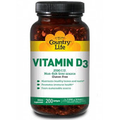 Country Life, Vitamin D3, 2500 I.U., 200 Softgels.