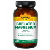 Country Life Chelated Magnesium, 180 Tabs 250 MG