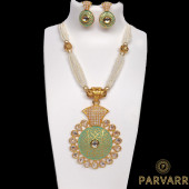Parvarr Gold Traditional Kundan Pearl Necklace Set with Earrings  mint green for Women