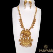 Parvarr Gold-Plated Temple Jewellery Set