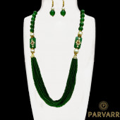 Parvarr Rajasthani Beads Work Traditional Necklace Earrings Set for Girls and Women Green