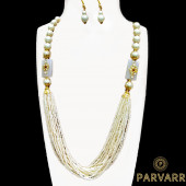 Parvarr Rajasthani Beads Work Traditional Necklace Earrings Set for Girls and Women White