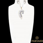 Parvarr American Diamond Gold Plated Pendant And Earrings For Women