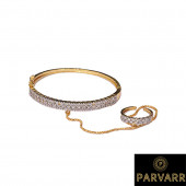 Parvarr Women American Diamond Hand Bracelet with a Ring Attached